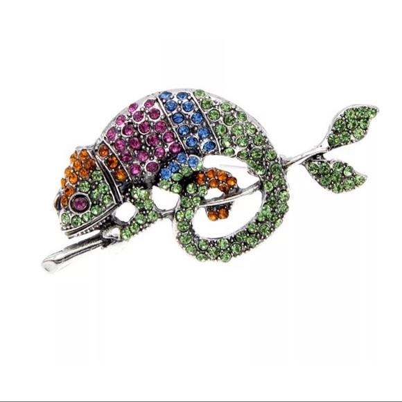 🆕 Rhinestone Chameleon Lizard🦎 Brooch Pin
